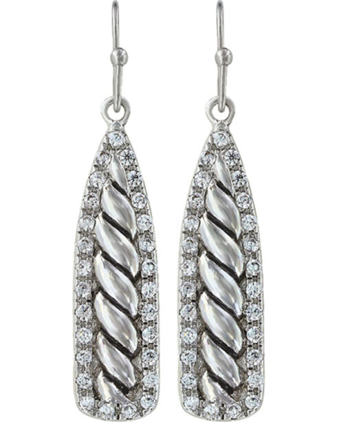Montana Silversmiths Women's Tapered Twisted Rope & Rhinestone Earrings, Silver, hi-res