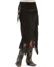 Scully Asymmetrical Fringe Suede Leather Skirt, , hi-res