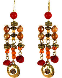 Treska Women's Saffron Sunset Linked Bead Ladder Earrings , , hi-res