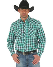 Wrangler 20X Men's Green/White Competition Advanced Comfort Snap Shirt - Big & Tall, , hi-res