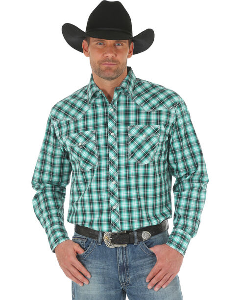 Wrangler 20X Men's Green/White Competition Advanced Comfort Snap Shirt - Big & Tall, Green, hi-res