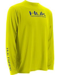 Huk Performance Fishing ICON Long Sleeve T-Shirt , Yellow, hi-res