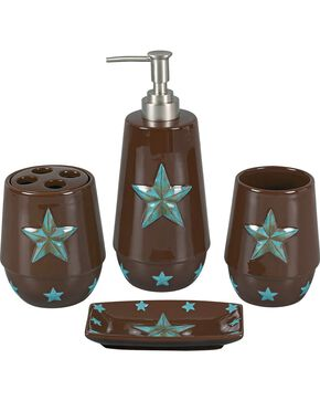 HiEnd Accents Turquoise Star 4-Piece Bathroom Set, Brown, hi-res