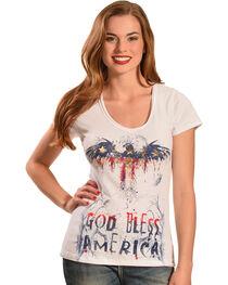 Liberty Wear Women's White God Bless America Top - Plus Sizes, , hi-res