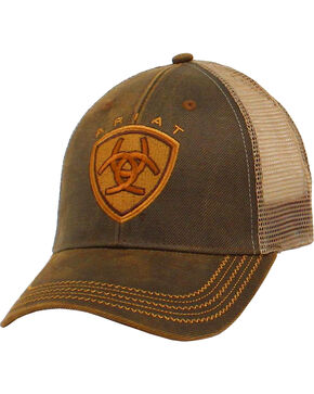 Ariat Men's Logo Mesh Trucker Ball Cap, Brown, hi-res
