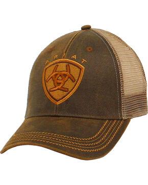 Ariat Men's Logo Mesh Trucker Ball Cap, Brown, hi-res