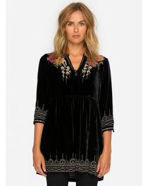 Johnny Was Women's Black Flores Velvet Boho Henley Dress , , hi-res
