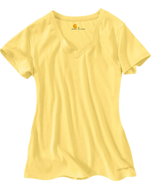 Carhartt Women's V-Neck T-Shirt, Yellow, hi-res