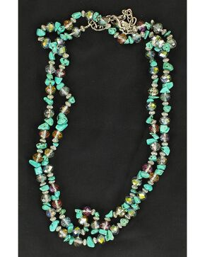 Multi Stone Double Strand Necklace, Turquoise, hi-res