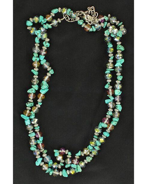 Multi Stone Double Strand Necklace, Turquoise, hi-res