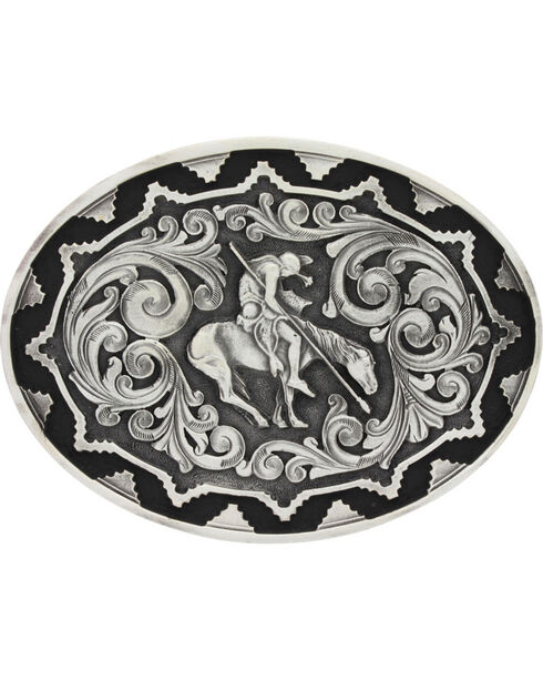 Montana Silversmiths Two-Tone Southwest Classic Impressions End of the Trail Attitude Belt Buckle, Silver, hi-res