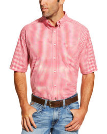 Ariat Men's Red Newbury Short Sleeve Shirt , , hi-res