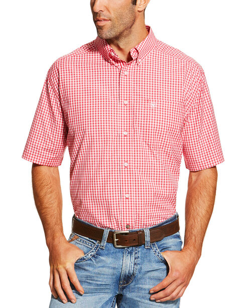 Ariat Men's Red Newbury Short Sleeve Shirt , Red, hi-res