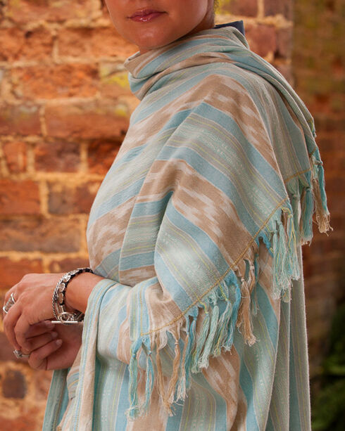 Ryan Michael Women's Ikat Shawl , Light Blue, hi-res