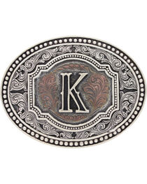 "Montana Silversmiths Men's Initial ""K"" Two-Tone Attitude Belt Buckle, , hi-res"
