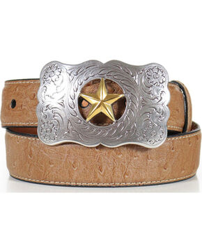Cody James Kid's Overlay Western Belt, Brown, hi-res