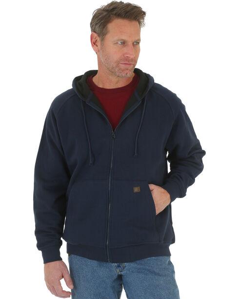 Wrangler Men's Navy Riggs Workwear Full Zip Hooded Sweatshirt , Navy, hi-res