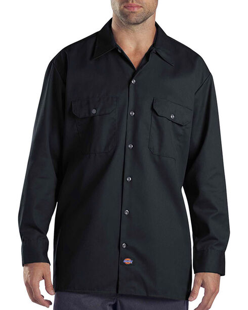 Dickies Long Sleeve Work Shirt - FOLDED, Black, hi-res
