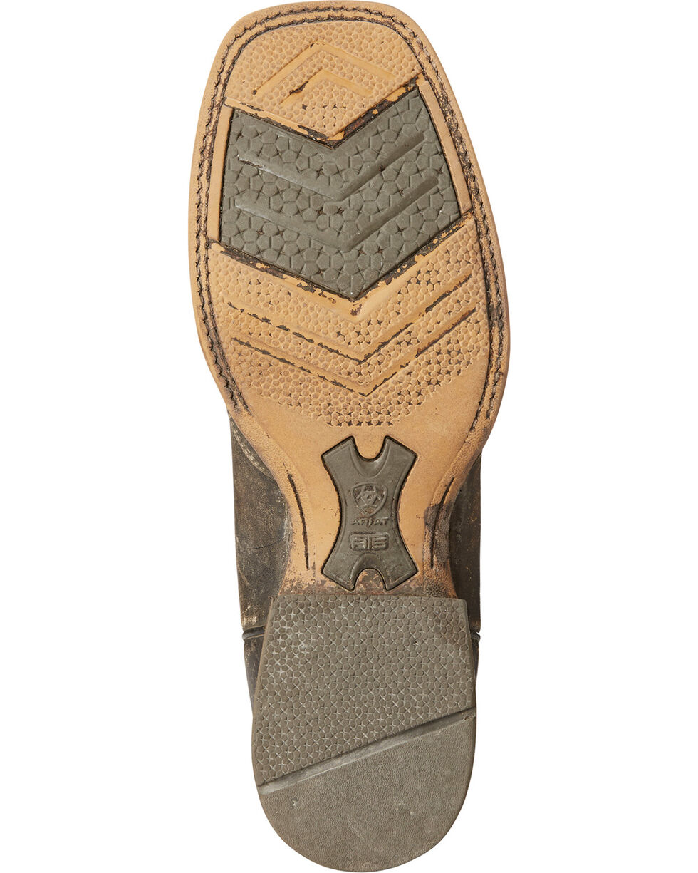 Ariat Men's Far West Naturally Distressed Cowboy Boots - Square Toe, Brown, hi-res