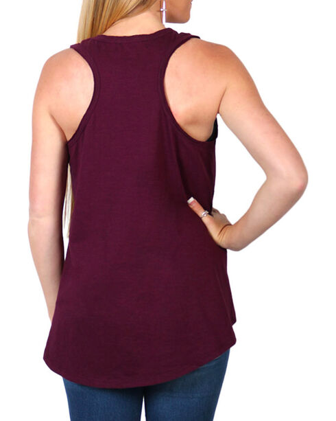 Shyanne®  Women's Longhorn Graphic Tank Top, Burgundy, hi-res