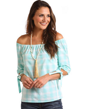 Panhandle Women's Plaid Keyhole Sleeve Peasant Top, Light Blue, hi-res