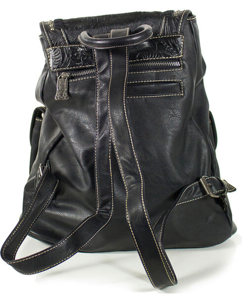 Trinity Ranch Hair on Hide and Tooled Back Pack, Black, hi-res