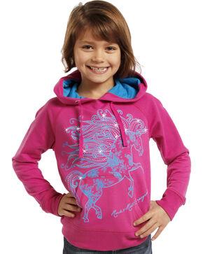 Panhandle Girls' Running Horse Sweatshirt, Pink, hi-res