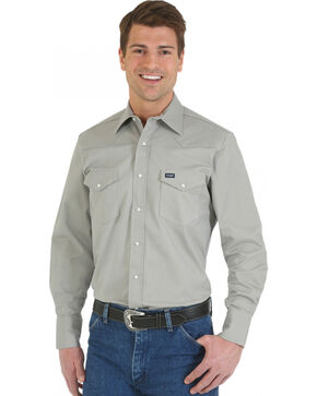 Wrangler Men's Advanced Comfort Long Sleeve Western Shirt, Cement, hi-res