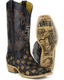 Tin Haul Men's Checkers Coat of Arms Cowboy Boots - Square Toe, , hi-res