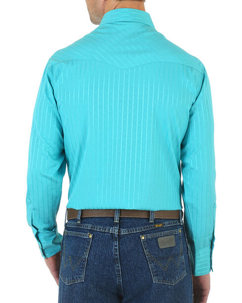 Wrangler Men's Sport Western Long Sleeve Shirt, Turquoise, hi-res