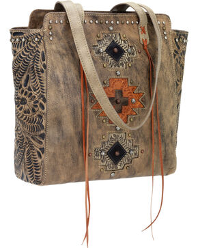 American West Women's Navajo Soul Zip-Top Tote, Dark Brown, hi-res