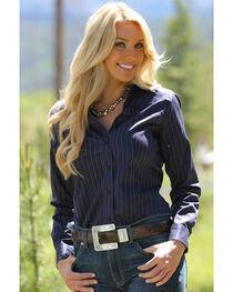 Miller Ranch Women's Navy Pinstripe Dress Shirt, , hi-res