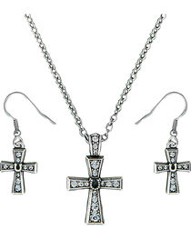 Montana Silversmiths Women's Silver Rhinestone Cross Jewelry Set, , hi-res