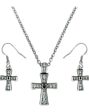 Montana Silversmiths Women's Silver Rhinestone Cross Jewelry Set, Silver, hi-res