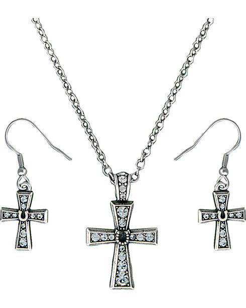 Montana Silversmiths Women's Silver Rhinestone Cross Jewelry Set, Silver, hi-res