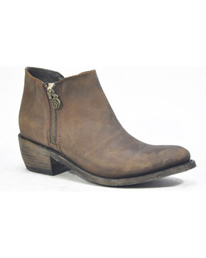 Liberty Black Women's Vegas Taupe Double Zip Booties - Round Toe , Chocolate, hi-res