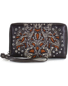 Montana West Women's Floral Studded Wallet, Taupe, hi-res