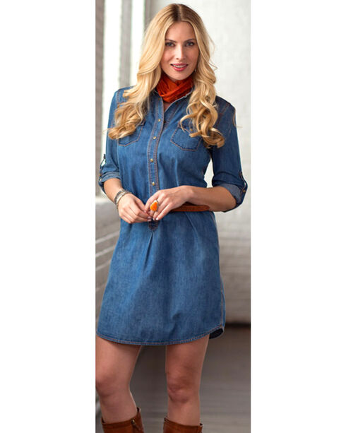 Ryan Michael Women's Whip-Stitch Denim Dress, Indigo, hi-res