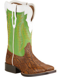 Ariat Youth Boys' Elephant Print Buscadero Cowboy Boots - Square Toe, , hi-res