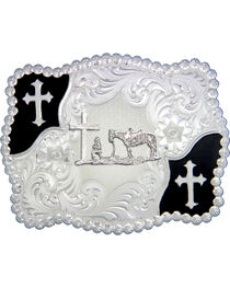 Montana Silversmiths Cross and Christian Cowboy Belt Buckle, , hi-res