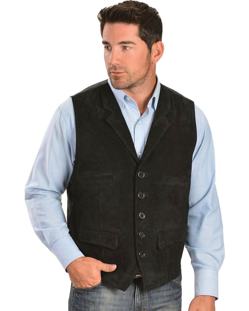 Vintage Leather Suede Front Lapel Vest, Black, hi-res