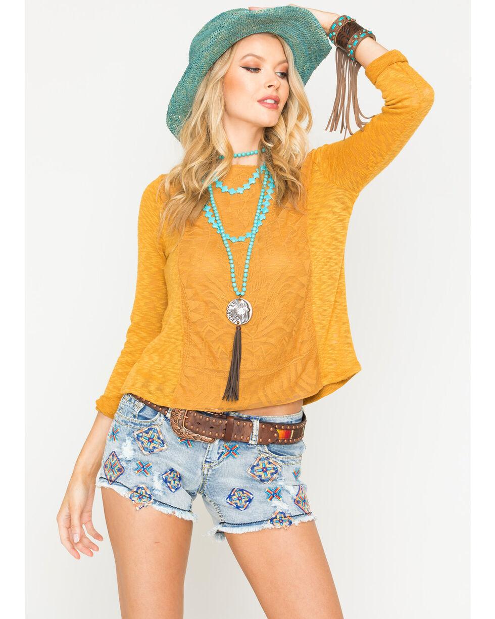 Jolt Women's Mustard Lace Overlay Top , Dark Yellow, hi-res