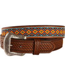 Nocona Southwest Beaded Leather Belt, , hi-res