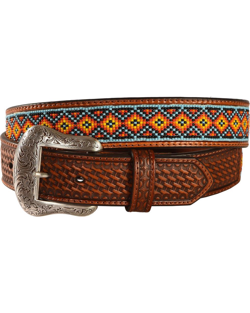 Nocona Southwest Beaded Leather Belt, Tan, hi-res