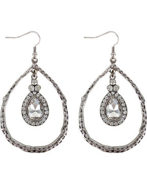 Shyanne® Women's Rhinestone Teardrop Earrings , Silver, hi-res