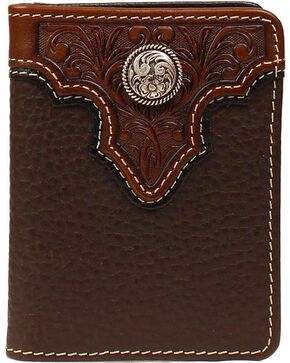 Ariat Men's Bi-Fold Leather Flipcase Wallet, Brown, hi-res