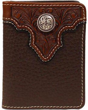 Ariat Men's Bi-Fold Leather Flipcase Wallet, Brown, hi-res