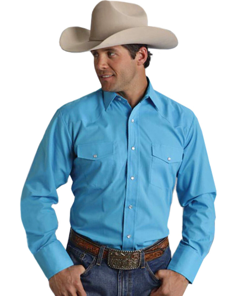 Roper Men's Broadcloth Solid Western Shirt, Turquoise, hi-res