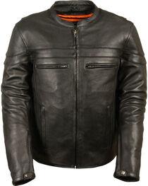 Milwaukee Leather Men's Black Sporty Scooter Crossover Jacket - Big - 5X, Black, hi-res