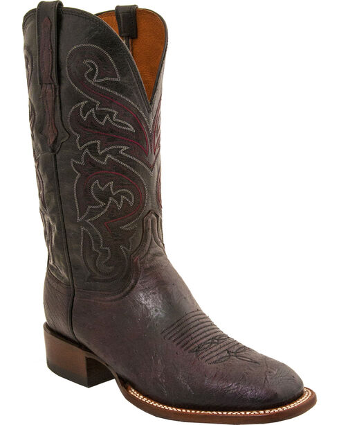 Lucchese Men's Lance Smooth Ostrich Horseman Boots - Square Toe, Black Cherry, hi-res